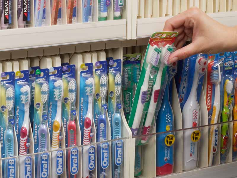 Toothbrush cube shelf management system